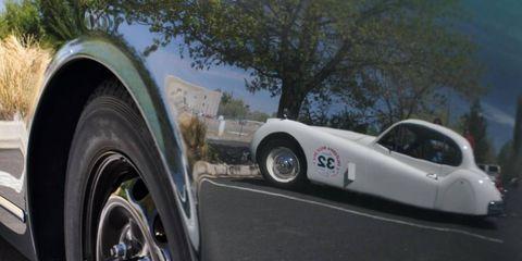 Spat 'n' happy: Jaguar XK140 at the National Auto Museum.