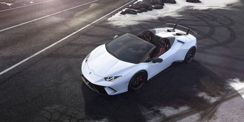 The Lamborghini Huracan Performante Spyder gets a V10 making 640 hp.