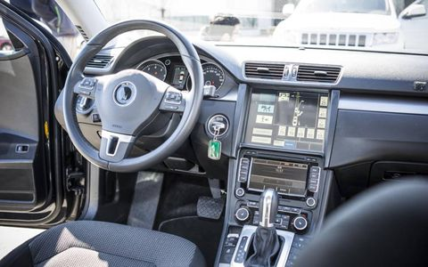 Inside, the Passat maintains a stock appearance, aside from a display that shows occupants what sensors are seeing and a couple of discreet control surfaces.