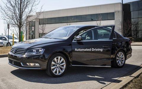 The unassuming exterior of Continental's autonomous Volkswagen Passat.