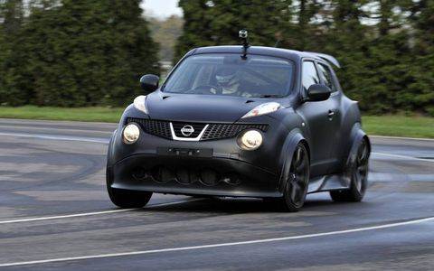 The Nissan Juke-R corners flat.