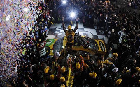 All Eyes On Me // Kyle Busch celebrates his victory in the NASCAR Sprint Cup race at Richmond on April 28.