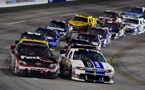 2012 NASCAR Richmond: Carl Edwards and Denny Hamlin, FedEx Freight Toyota Camry resart