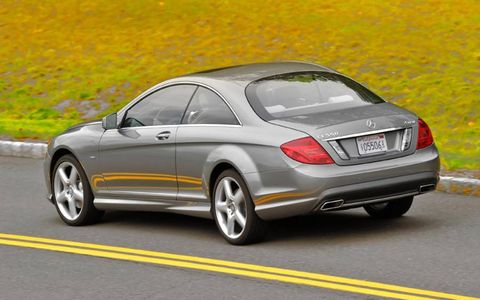 Mercedes-Benz' active body control system helps keep the 2013 Mercedes-Benz CL550 4Matic level through corners.