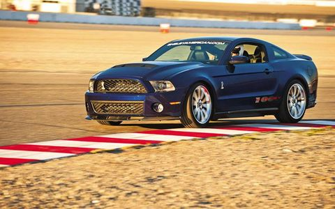 The 2012 Shelby 1000 Ford Mustang on track at Las Vegas Motor Speedway.