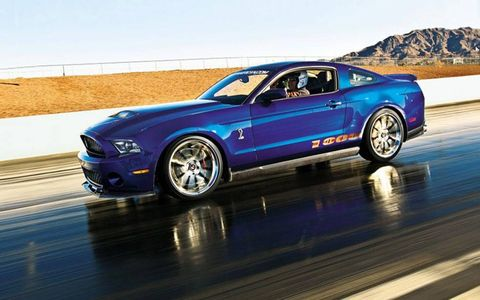 The 2012 Shelby 1000 Ford Mustang hits the drag strip at Las Vegas Motor Speedway.