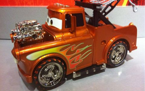 Tow Mater hot rod with flames; Ridemakerz sets will let buyers customize their vehicle with any combination of accessories they wish.
