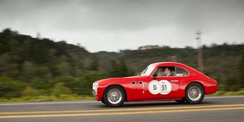 The plucky '47 Cisitalia 202 motors up Silverado Trail toward the finish line.