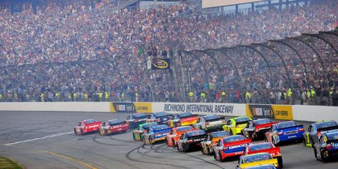 Juan Pablo Montoya and Regan Smith lead the field down to the green flag at Richmond International Raceway in Virginia on April 30. Photo by: LAT South LAT Photo USA