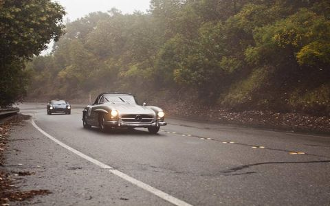 Inclement weather did not deter this SL, nor the Moal-bodied Ferrari.