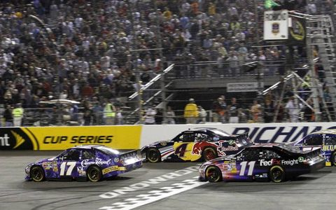 Matt Kenseth leads Kasey Kahne and Denny Hamlin around Richmond. Photo by: Lesley Ann Miller LAT Photo USA