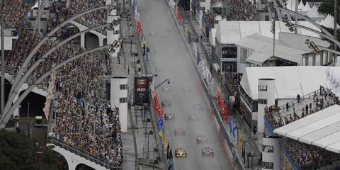 Will Power leads the field at the start of IndyCar's race in Sao Paulo, Brazil. Photo by: Michael L. Levitt LAT Photo USA