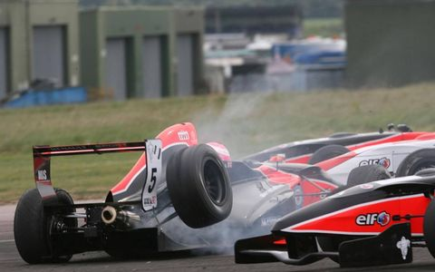 Out of alignment: Manor Competition's Alice Powell takes a terminal shot in the Formula Renault U.K. Championship event at Thruxton in England. Photo by Ebrey/LAT Photographic