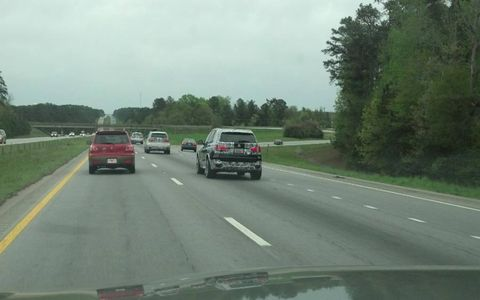 This convoy of BMW X5s wearing dazzling camouflage was spotted somewhere on Interstate 26.