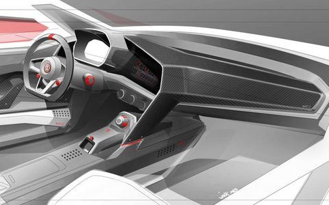 Inside rendering of the Design Vision GTI from Volkswagen.