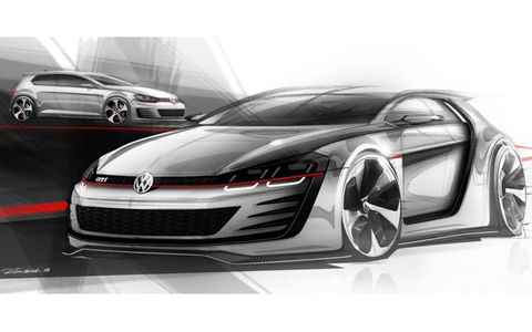 Rendering of the VW Golf GTI Design Vision, packing nearly 500 hp.
