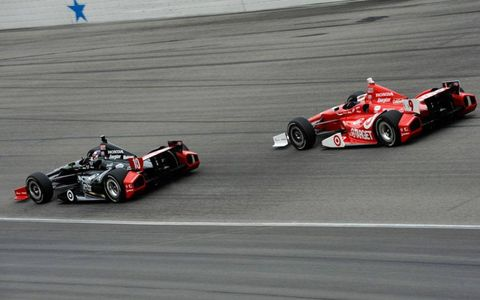 Dario Franchitti, left, and Scott Dixon try to tame the oval at Texas on Monday.