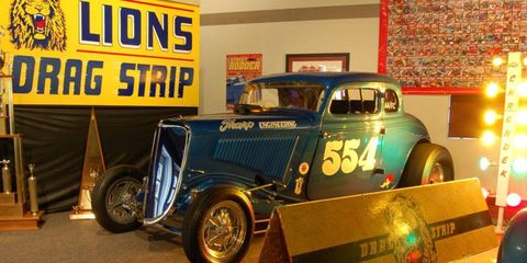 """A Mooneyham and Sharp 1934 5-window coupe, shown """"at"""" Lions Drag Strip."""