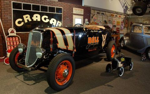 This '33 Ford was called the Mines Field Racer because it raced at a place called Mines Field, a place now known as LAX. Try getting on the runway now!