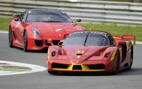 A Ferrari FXX leads a 599XX.