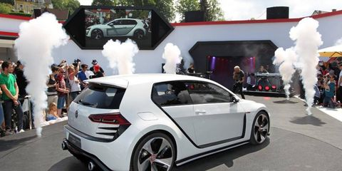 The Design Vision GTI concept showcases a twin-turbocharged 3-liter V6 engine developed for use in upcoming models.