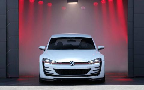 The new appearance is claimed to include elements destined for a limited edition 40th anniversary Golf GTI model due out in 2014.
