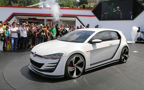 The Design Vision GTI builds on the look of the standard Golf GTI with a heavily reworked body that takes full advantage of a modified chassis.