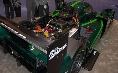 A rear view of Qualcomm Halo's electric-powered Drayson Racing Lola.