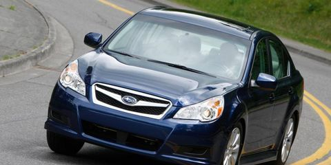 The six-cylinder engine in the 2012 Subaru Legacy 3.6R Limited is rated at 256 hp.