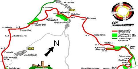 Map of the Nürburgring circuit.