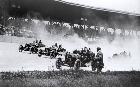 The first corner of the first race, 1911.