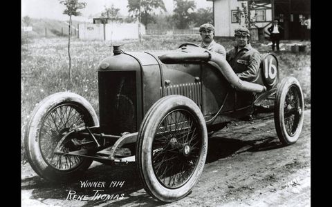 1914 -- Rene Thomas upped the 500's speed average to 82.474 mph with his victory.