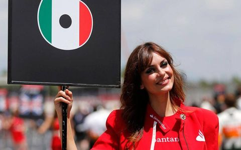 This grid girl has Sergio Perez's number in Barcelona.