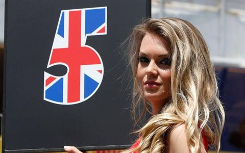 This grid girl had Jenson Button covered in Barcelona.