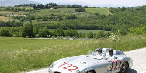 Mercedes-Benz's 300SLR was the dominant sports-racer of 1955 and one of the greatest in history. It won that year's Sports Car Championship thanks to three victories by Stirling Moss in this very car. Restored to its Mille Miglia-winning trim, including the no. 722 it bore that May Day, the