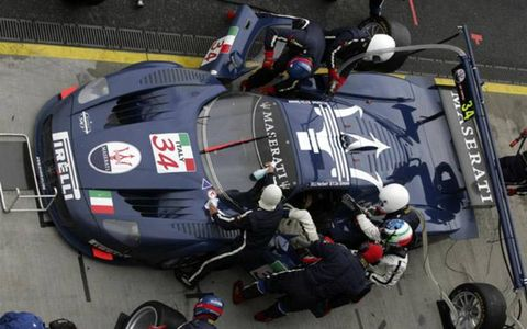 The Maserati MC12 race car hits the pits during the 2004 FIA GT Championship in Oschersleben, Germany.