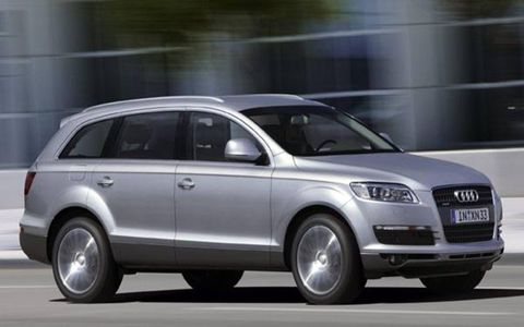 Q7 buyers have a choice of the 3.2-liter 240-hp V6 from the Touareg or the next-generation 4.2-liter V8 with stratified fuel injection making 350 hp. The Q has paddle shifters on the sides of the steering wheel, suggesting a six-speed Tiptronic of the kind attached to other VW/Audi 4.2-liter V8s. The Q is bigger than the Porsche Cayenne and the VW Touareg with which it shares many a part.
