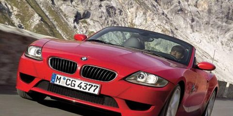 BMW's powered-up open-top retort to the Mercedes-Benz SLK55 AMG and Porsche Boxster S, the Z4 M roadster gets the same 3.2-liter inline- six engine as the soon-to-be-discontinued fourth-generation M3. Sitting up front in the new car's distinctive shark-like nose, the high-strung alloy block unit produces 343 hp at 7900 rpm—a solid 78 hp more than the 3.0-liter I6 in the facelifted Z4 3.0i. It is also 43 hp more than the 3.3-liter I6 Roadster S offered by Alpina, which up until now was the fastest Z4 offered through official BMW channels. Look for the same powerplant in the M version of the Z4 Coupe when it arrives in 2007.