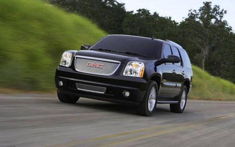 When it goes on sale early next year, the 2007 Yukon will be available in three trim levels -- SLE with cloth trim, SLT with leather trim and Denali. The Yukon Denali gets a different grille design and a 6.2-liter V-8 engine rated at 380 horsepower and mated to a six-speed automatic transmission. The base engine for two-wheel-drive versions of the Yukon will be a 4.8-liter V-8 rated at 290 hp. But that engine won't be available at the start of production. The new Yukon will launch with a 5.3-liter V-8 rated at 320 hp and equipped with cylinder deactivation technology to improve fuel economy.