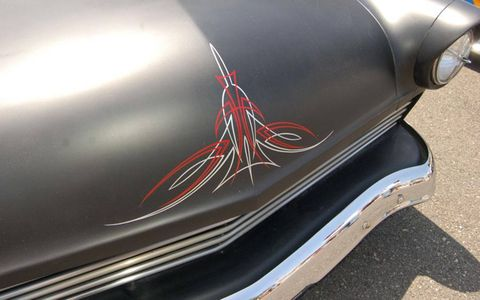 Pinstriping on the hood of Mark Waldman's ride.