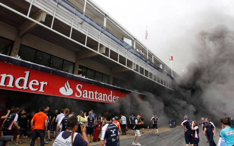A fire broke out in the Williams F1 team garage shortly after the finish of the Spanish Grand Prix in in Barcelona on Saturday.