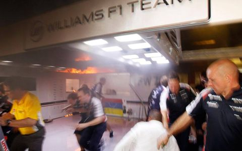 The scene was chaotic inside the Williams F1 team garage when fire broke out after the Spanish Grand Prix on Sunday.