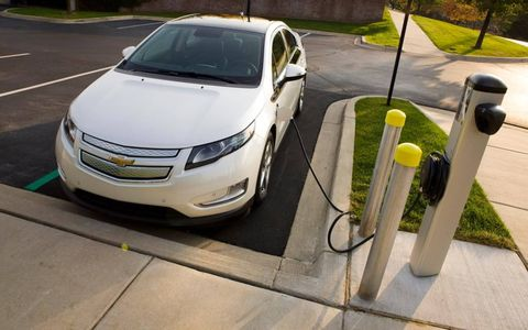 The 2012 Chevrolet Volt being recharged.