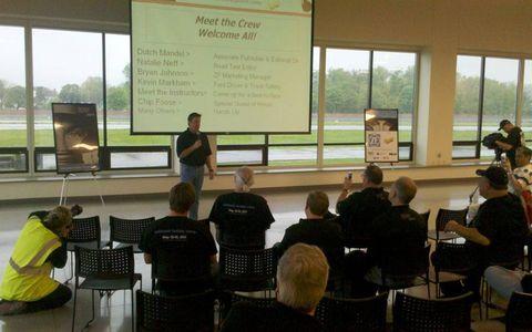 Pre-drive briefing at AutoWeek Fantasy Camp 2011.