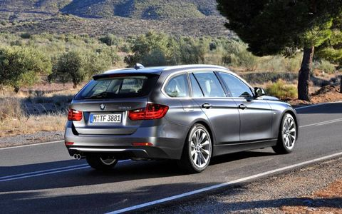 A rear view of the BMW 3-Series Sports Wagon.