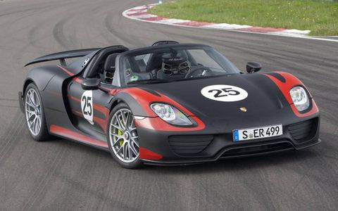 Due to land on U.S. soil early next year, the 918 Spyder comes with an $845,000 price tag, and bumps to $929,000 for the optional Weissach performance package.