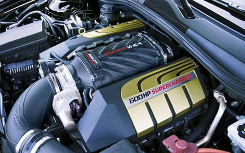 The engine of the 2012 SLP Chevrolet Camaro Panther 600.