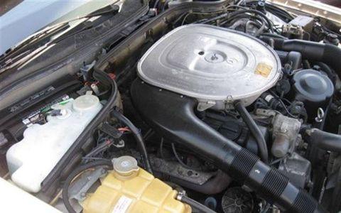 1986 Mercedes Benz 560SEC engine compartment.