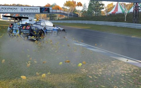 We've come a long way since Mario Kart, with off-the-track antics -- such as this Nissan GTR's spin in the gravel -- triggering real-time tactile feedback.