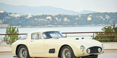 This 1955 Ferrari 410 Sport features a one-off body by the Italian coachbuilder Scaglietti
